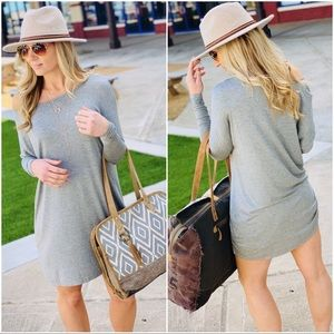 LET'S CHILL TUNIC DRESS-HEATHER GREY